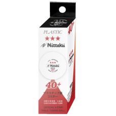 Мячи для н/т NITTAKU 3*** SHA 40+, пластик, белые, 3 шт