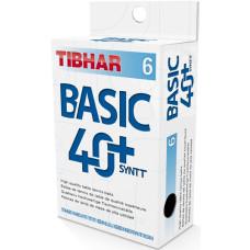 Мячи для н/т Tibhar Basic, 40+ SYNTT , пластик, бел. 6 шт
