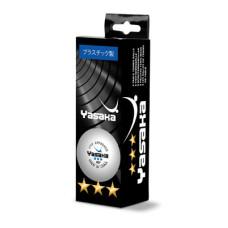 Мячи для н/т Yasaka 3*** 40+ пластик, бел. 3 шт